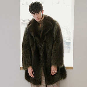 Winter Real Fur Coat Men Long Natural Raccoon Fur Jacket Warm Luxury Coat Men Overcoat Winter Fur Jackets 18150-2 KJ3441