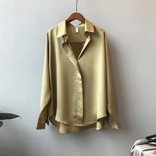 Load image into Gallery viewer, Sexy V-neck Shirt Solid Color Loose Korean Style Long Sleeve Blouse Loose Elegant Women Tops Blouses