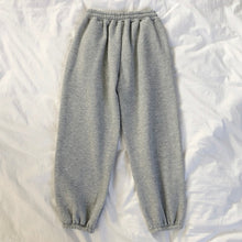 Load image into Gallery viewer, Mooirue Winter Women Harem Pants Stripes Embroidery Gray Black Fleece Pants Bottom