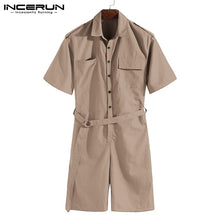 Load image into Gallery viewer, INCERUN 2019 Fashion Men Romper Jumpsuit With Belt Half Sleeve Streetwear Casual Playsuit Pants Men Cargo Overalls Harajuku 5XL