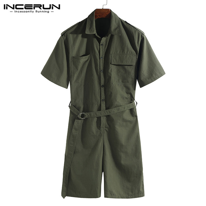 INCERUN 2019 Fashion Men Romper Jumpsuit With Belt Half Sleeve Streetwear Casual Playsuit Pants Men Cargo Overalls Harajuku 5XL