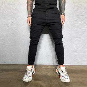 Pants Men Streetwear Sweatpants Zipper Pure Color Overalls Casual Pocket Sport Work Casual Trouser Pants pantalones hombre Z4