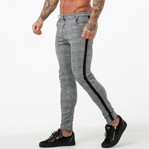 New Mens Grid Casual Slim Fit Skinny Stripe High Waist Pants Jogging Pants Long Pants Trousers