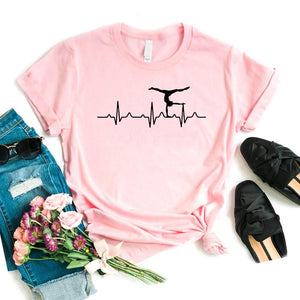 Gymnastics Heartbeat Print Women tshirt Cotton Casual Funny t shirt For Yong Lady Girl Top Tee 6 Colors Drop Ship NA-422