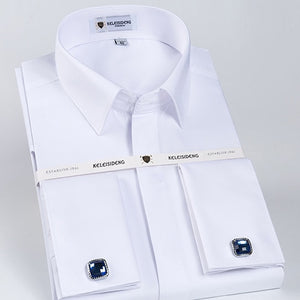 Men's French Front Hidden Buttons Solid Dress Shirt Standard-fit Long Sleeve Twill Wedding Party Shirts (Cufflinks Included)