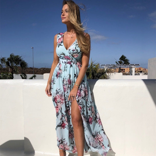 NEDEINS Women V Neck Split Dress Floral Print Long  Summer Spaghetti Strap Party Pink Chiffon Elegant Casual Maxi Dresses Beach