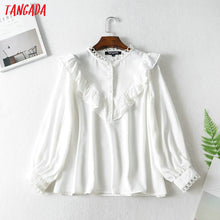 Load image into Gallery viewer, Tangada women ruffle white shirts long sleeve solid o-neck elegant office ladies work wear blouses FN114