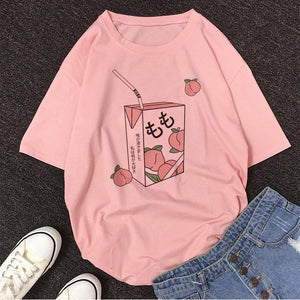 Cartoon Peach Juice Japanses Aesthetic Grunge T shirt Women Harajuku Cute Kawaii Pink Summer Casual Tumblr Outfit Fashion Tops