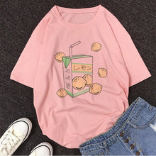 Load image into Gallery viewer, Cartoon Peach Juice Japanses Aesthetic Grunge T shirt Women Harajuku Cute Kawaii Pink Summer Casual Tumblr Outfit Fashion Tops