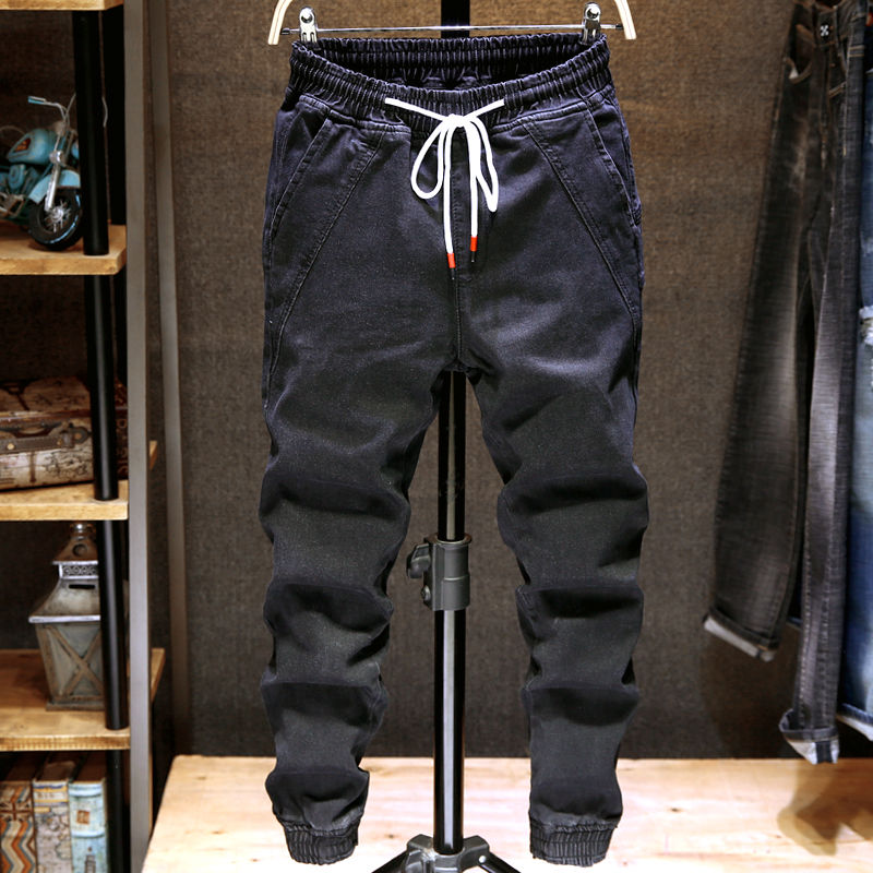 jeans men's elastic hip hop pants men's loose casual feet tight waist trend spring and autumn new 2020