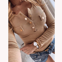 Load image into Gallery viewer, 5XL Women Shirts 2020 Spring V-neck Metal Buttons Ribbed Knitted Blouse Fashion Long Sleeve Solid Plus Size Tops Autumn Pullover