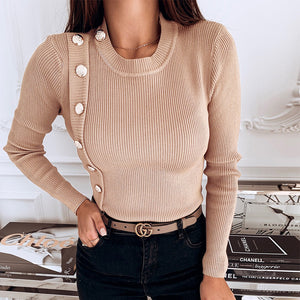 5XL Women Shirts 2020 Spring V-neck Metal Buttons Ribbed Knitted Blouse Fashion Long Sleeve Solid Plus Size Tops Autumn Pullover