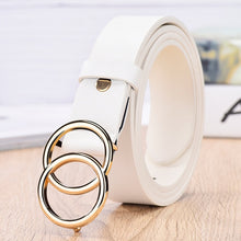 Load image into Gallery viewer, JIFANPAUL Genuine leather Women's alloy double ring buckle fashion adjustable belt retro punk ladies dress jeans student belts