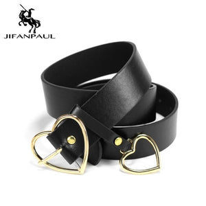 JIFANPAUL Genuine leather Women's alloy double ring buckle fashion adjustable belt retro punk ladies dress jeans student belts