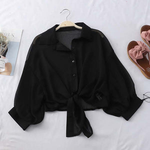 HELIAR Lantern Sleeve Chiffon Shirts Women 2020 Summer Buttoned Up Shirt Long Sleeve Blouse Tied Waist Elegant Women Blouses