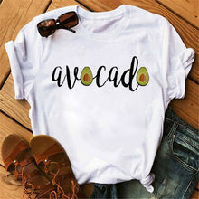 Load image into Gallery viewer, Maycaur New Women T-Shirts Summer Cute Avocado Printed Tops Tees Female T-shirt Short Sleeve White Tshirt for Lady Casual Tops
