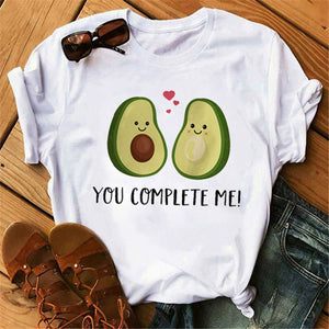 Maycaur New Women T-Shirts Summer Cute Avocado Printed Tops Tees Female T-shirt Short Sleeve White Tshirt for Lady Casual Tops