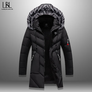 Winter Parka Men's Solid Jacket 2019 New Arrival Thick Warm Coat Long Hooded Jacket Fur Collar Windproof Padded Coat Fashion Men