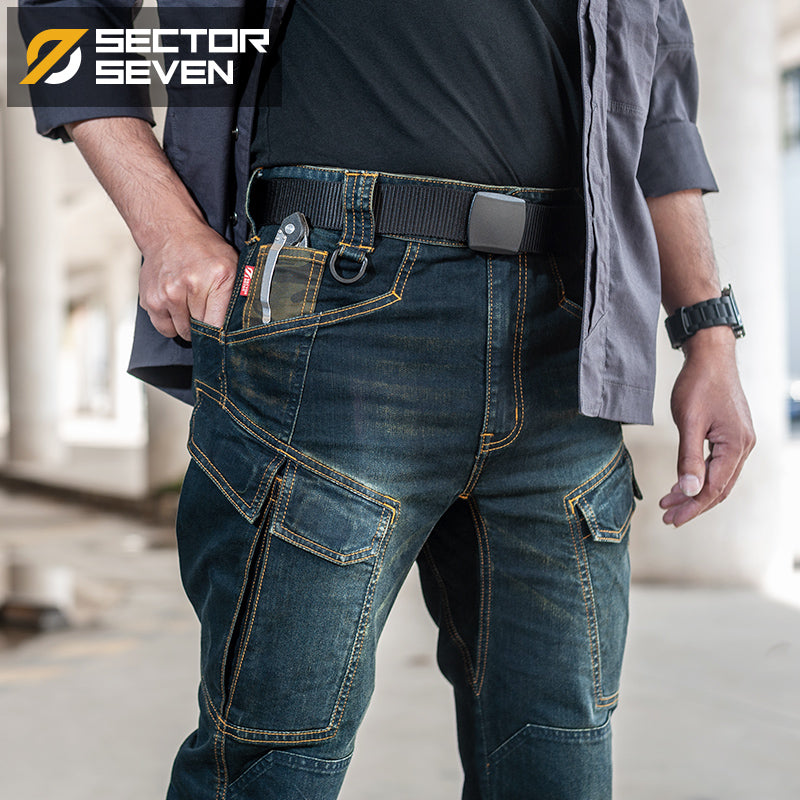 Sector Seven 2020 New Slim City Casual Jeans  men Mid Waist Straight Denim Jeans Classic Indigo Blue Black Jeans Wear-resistant