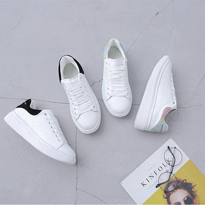 McQueen Celebrity Style Small White Shoes 2019 Spring New Style WOMEN'S Shoes Genuine Leather Thick Bottomed Flat Casual Sports
