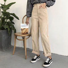 Load image into Gallery viewer, Pants Women Loose Solid Corduroy High Waist Pockets Solid Womens Long Trousers Korean Style Leisure All-match Simple Trendy