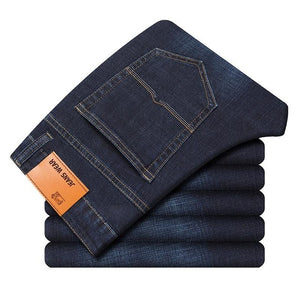 Brand 2019 New Men's Fashion Jeans Business Casual Stretch Slim Jeans Classic Trousers Denim Pants Male Black Blue