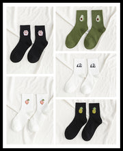 Load image into Gallery viewer, 5 Pairs/Pack Unisex Funny Fruit Women Socks Harajuku Colorful Mid Socks Women 100 Cotton Kawaii Size 35-42