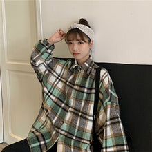 Load image into Gallery viewer, Korean Plaid Shirt Women'S Clothing Harajuku Single-Breasted Long Sleeved Autumn Shirt Ladies Lapel Large Sized Shirt Woman 2019