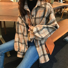 Load image into Gallery viewer, Mazefeng 2019 Spring Women Shirt Loose Style Shirt Women Casual Shirt Ladies Women Tops Plaid Woollen Cloth Shirt Streetwear