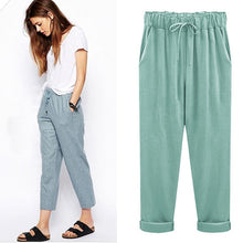 Load image into Gallery viewer, M-6XL Plus Size Women Pants Linen Cotton Casual Harem Pants Candy Color Harajuku Green Trousers Female Ankle-length Length Pants