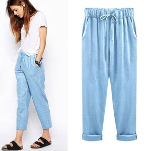 M-6XL Plus Size Women Pants Linen Cotton Casual Harem Pants Candy Color Harajuku Green Trousers Female Ankle-length Length Pants