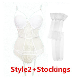 Varsbaby sexy lace thongs underwear set bow shape body vest lingerie set push up breathable bra and panty set