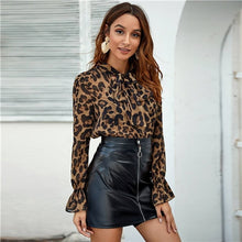 Load image into Gallery viewer, SHEIN Multicolor Tie Neck Flounce Sleeve Leopard Top Women Elegant Blouse Spring Autumn Stand Collar Office Lady Sheer Blouses