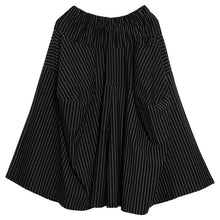 Load image into Gallery viewer, [EAM] 2020 New Autumn Winter High Elastic Waist Black Striped Big Pocket Stitching Wide Leg Pants Women Trousers Fashion JH787