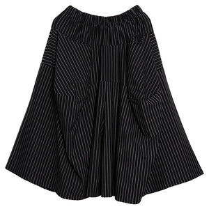 [EAM] 2020 New Autumn Winter High Elastic Waist Black Striped Big Pocket Stitching Wide Leg Pants Women Trousers Fashion JH787