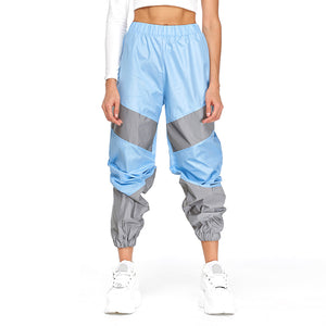 OMSJ Autumn Winter Loose Hight Waist Flash Reflective Patchwork Jogger Pants 2019 Women Neon Streetwear Outfits Cargo Trousers