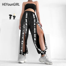 Load image into Gallery viewer, HEYounGIRL Split Casual Loose Black Pants Capris Elastic High Waist Trousers Women Letter Print High Street Sweatpants Joggers