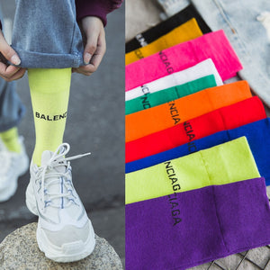 Pure Colored 10 Letters Casual Socks Harajuku Fluorescent Green Tube Socks Men&Women Unisex Cotton Girls Winter Happy Socks 1236