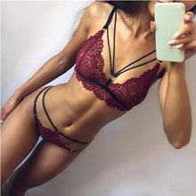 Load image into Gallery viewer, Fashion Women Bra Set Polyester Lace Lingerie Straps Sissy Panty Bandage Set Sexy Light and Breathable Underwear Sets