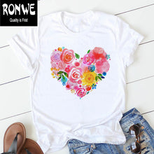 Load image into Gallery viewer, Pink Heart Flower Print Women Tshirt Cotton Casual Funny T Shirt Gift 90s Lady Yong Girl Drop Ship PKT-894