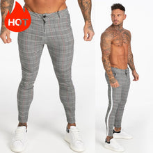 Load image into Gallery viewer, GINGTTO Men Chinos Trousers Skinny Super Stretch Chino Pants Slim Fit Mens Casual Pant Plaid Grey Elastic Waist London Fashion
