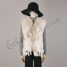 Load image into Gallery viewer, Natural Rabbit Fur Vest With Raccoon Fur Collar Party Waistcoat jackets knitted Gilets women wool vest colete de pele de coelho