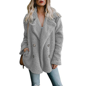 Vintage fluffy faux fur coat women Short furry fake fur winter outerwear pink grey coat autumn casual party overcoat