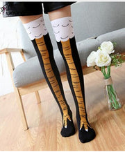 Load image into Gallery viewer, Winter Autumn Women 3D Chicken print Socks Funny 3D Cartoon Thigh High Sock fashion cute ladies Thin Toe Feet Socks cosplay