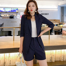 Load image into Gallery viewer, Office Ladies Women Striped Pant Suits Half Sleeve Jacket Blazer & High Waist Hot Shorts Elegant Female 2 Pieces Set Short Suits