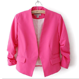 Female Body Puff Sleeves Candy Color V-neck Solid Color Short Suit Fashion  Trend Office Ladies Clothing