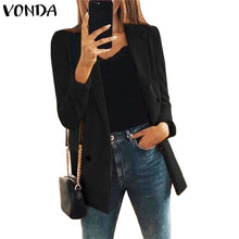 Load image into Gallery viewer, Fashion Jackets Women Coat Plus Size VONDA 2020 Spring Autumn Female Long Sleeve Lapel Black Blazer Elegant Work Blazer Feminina