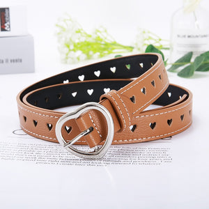 PKWYKLRE New sweetheart buckle with adjustable ladies luxury brand cute Heart-shaped thin belt high quality punk fashion belts
