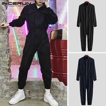 Load image into Gallery viewer, INCERUN Long Sleeve Hip Hop Collar Japanese Retro Men's Suit Jumpsuit Overalls 2019 Solid Color Thin Section Nine-Piece Jumpsuit