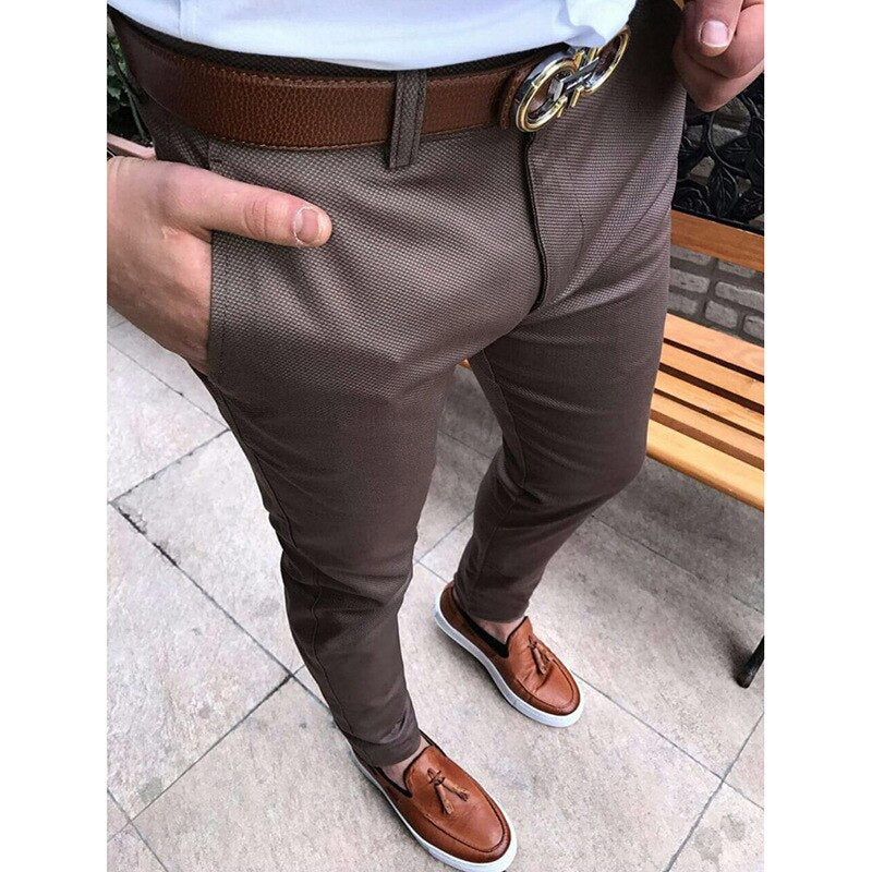 Stylish Men's Slim Fit Business Office Formal Long Pencil Pants Male Skinny Stretchy Casual Solid Color Trousers Plus Size